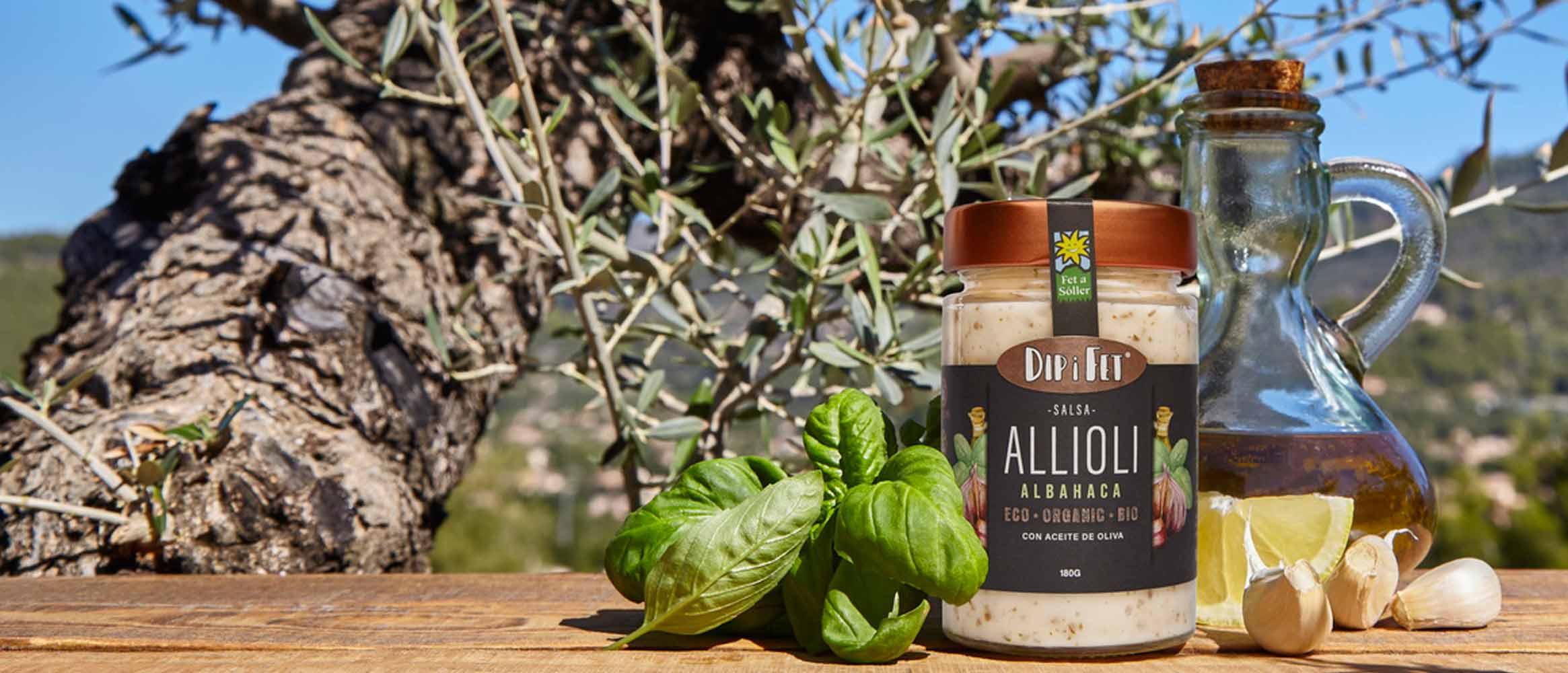 Salsa ALLIOLI albahaca DIP I FET BIO, 180G
