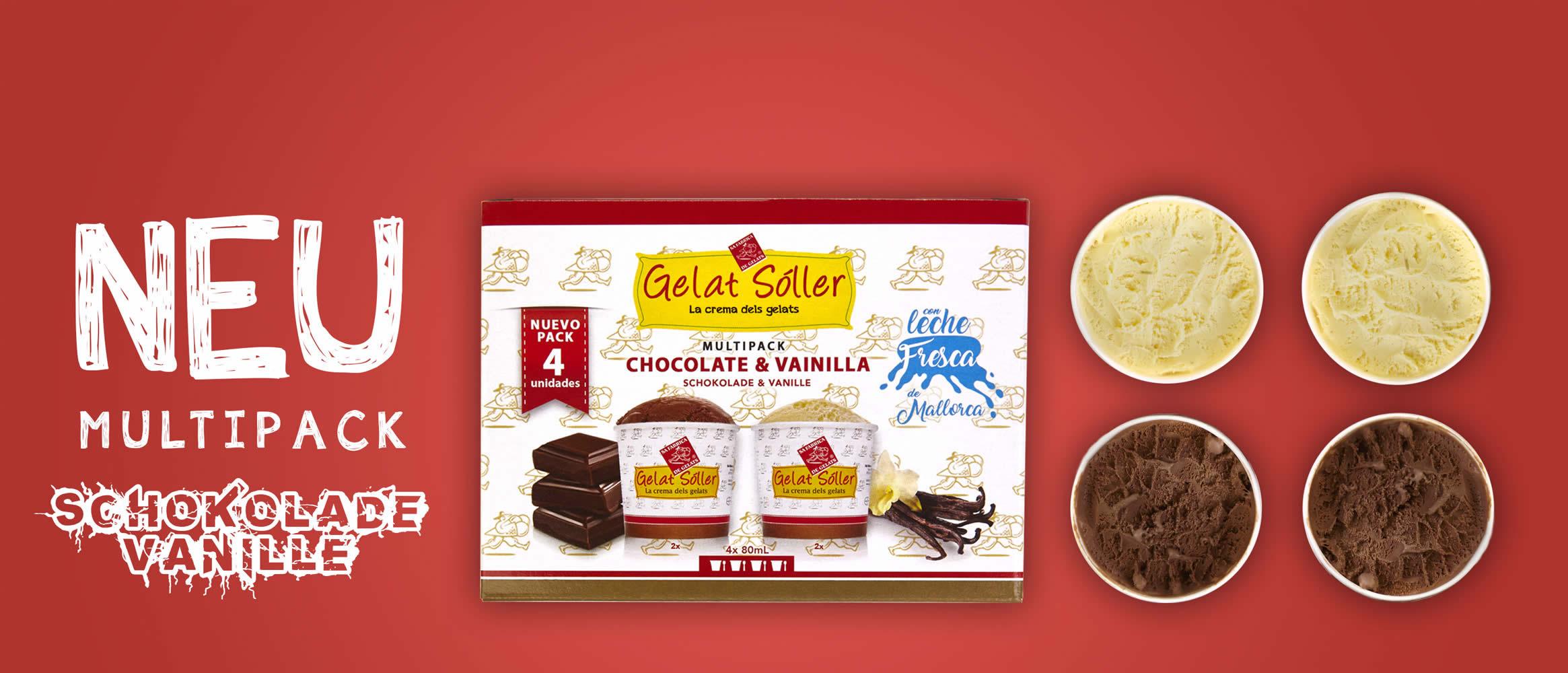 Multipack - Chocolate+vanilla 4x80ml Gelat Sóller