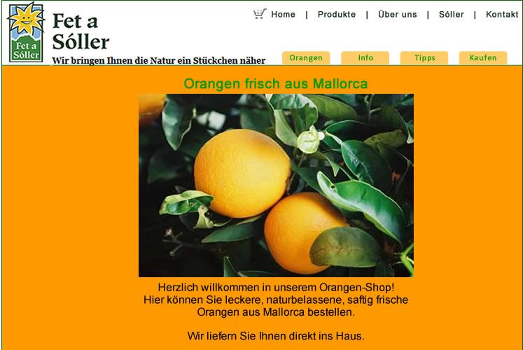 Orangen: das einzige Produkt im ersten Online Shop von Fet a Sóller